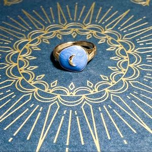 LAST ONE! Gold Celestial Moon Hand Painted Ring
